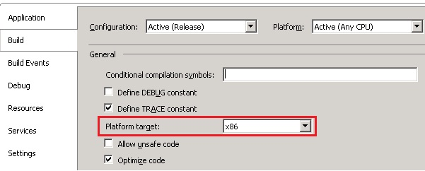 cs project settings  .NET: An attempt was made to load a program with an incorrect format