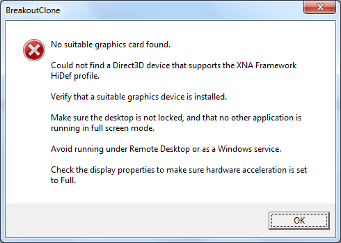 1  XNA 4.0   No suitable graphics card found