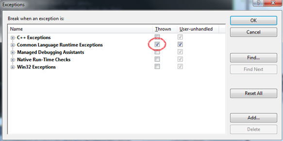 Окно Exceptions в Visual Studio  Дебаг ошибки The agent process was stopped while the test was running